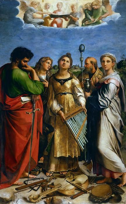 Святая Цецилия со святыми Павлом, Иоанном Богословом, Августином и Марией Магдалиной. Рафаэль Санти