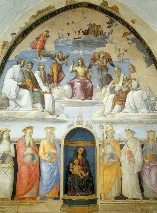 Holy Trinity Flanked by Six Benedictine Saints Above and Six Other Saints Below (jointly with Perugino). Raffaello Sanzio da Urbino) Raphael (Raffaello Santi