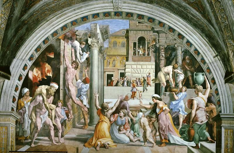 Stanza Fire in the Borgo: Fire in the Borgo. Raffaello Sanzio da Urbino) Raphael (Raffaello Santi