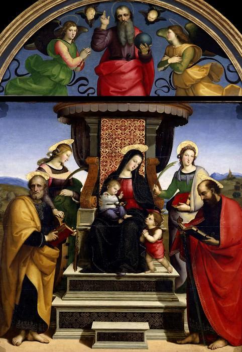 Мадонна с Младенцем на троне со святыми, ангелами и Бог-Отец в люнете. Рафаэль Санти