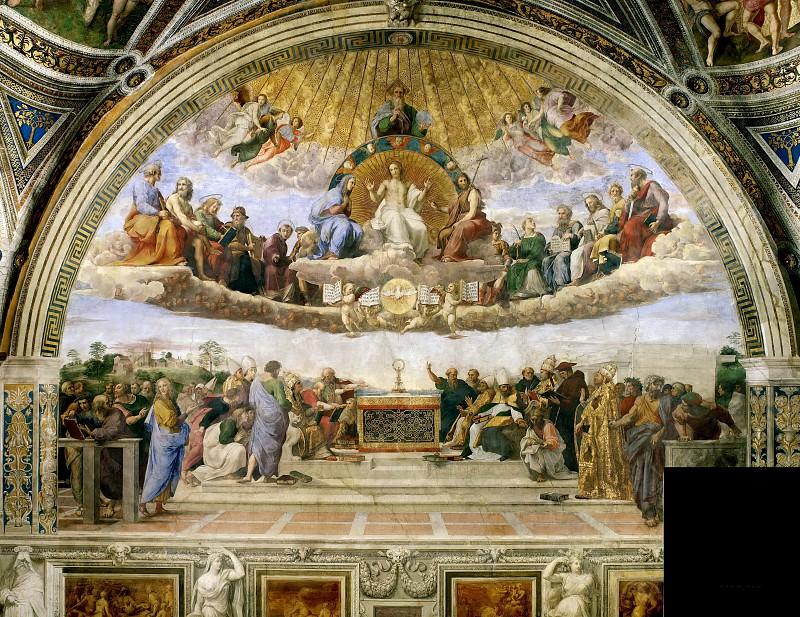 Stanza della Segnatura: Disputation of the Holy Sacrament. Raffaello Sanzio da Urbino) Raphael (Raffaello Santi
