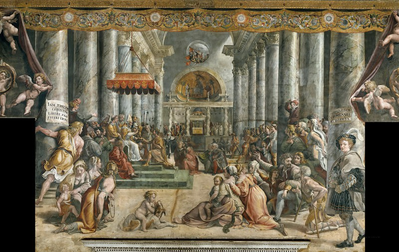 Room of Constantine: The Donation of Constantine (workshop of Raphael). Raffaello Sanzio da Urbino) Raphael (Raffaello Santi