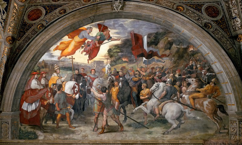 Stanza of Heliodorus: The Meeting of Leo the Great and Attila. Raffaello Sanzio da Urbino) Raphael (Raffaello Santi