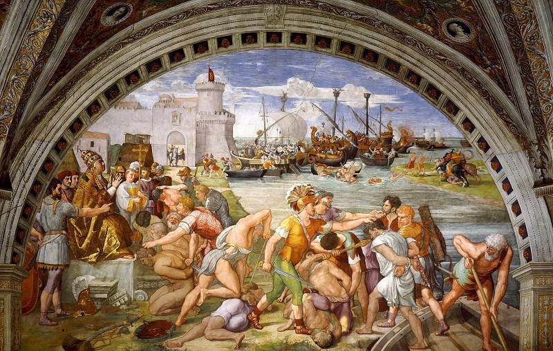 Stanza Fire in the Borgo: Battle of Ostia. Raffaello Sanzio da Urbino) Raphael (Raffaello Santi