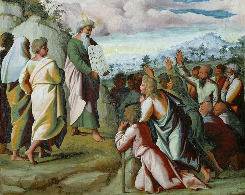 Moses Presents the Tablets of the Law to the people. Raffaello Sanzio da Urbino) Raphael (Raffaello Santi