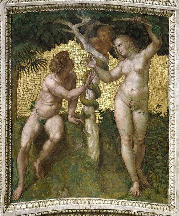 Станца делла Сеньятура: Роспись потолка (фрагмент) - Адам и Ева (Грехопадение). Рафаэль Санти