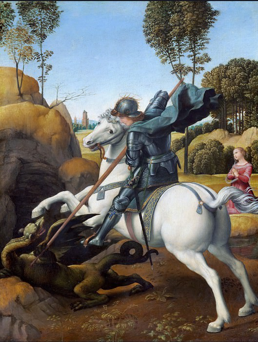 St. George and the Dragon. Raffaello Sanzio da Urbino) Raphael (Raffaello Santi