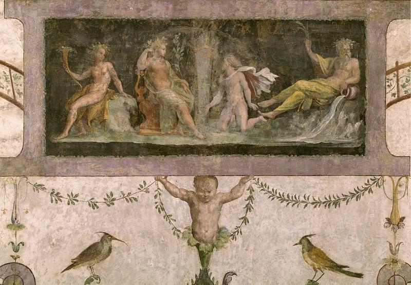 Фрески в лоджии кардинала Бибиены - Боги принимают решение о состязании Аполлона и Марсия. Рафаэль Санти