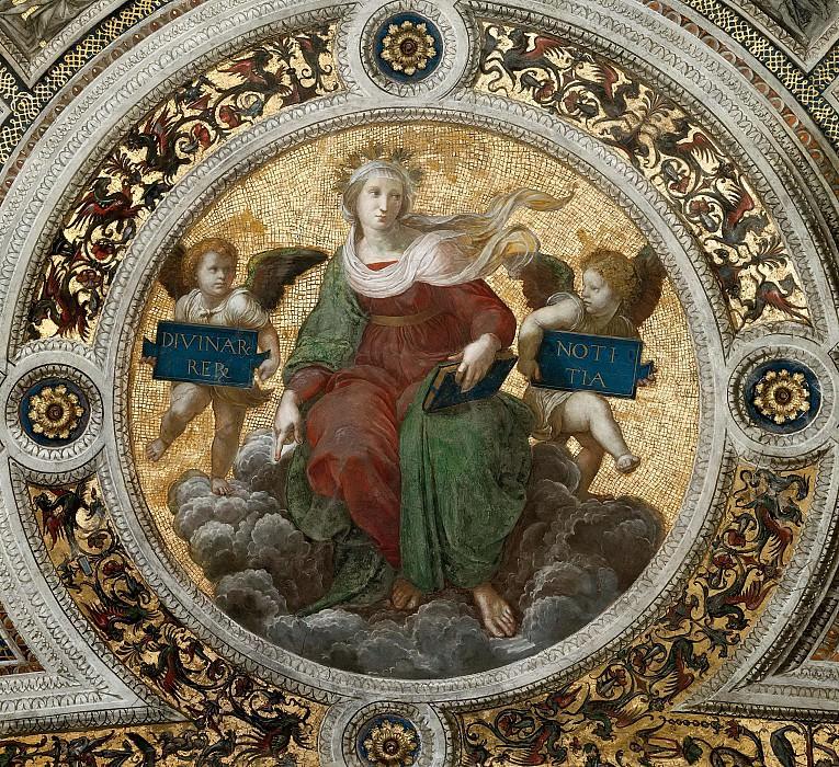 Станца делла Сеньятура: Роспись потолка (фрагмент) - Богословие. Рафаэль Санти