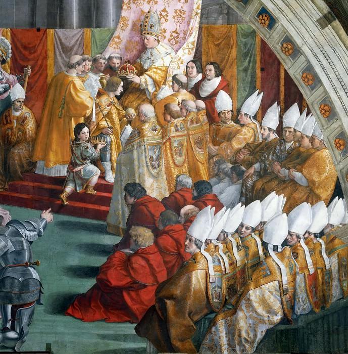 Станца Пожар в Борго: Коронация Карла Великого Папой Львом III на Рождество 799 года. Рафаэль Санти