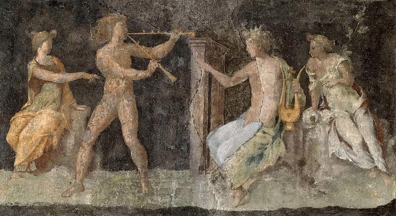 Фрески в лоджии кардинала Бибиены - Состязание между Аполлоном и Марсием. Рафаэль Санти