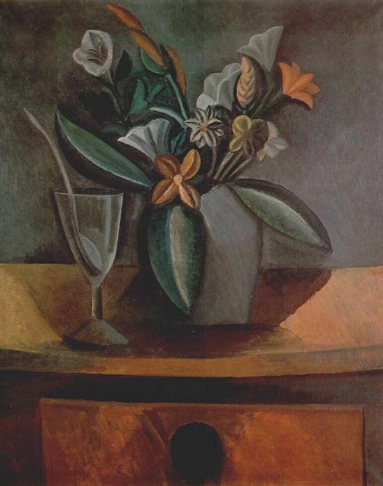 1908 Fleurs dans une cruche grise et verre de vin avec cuiller. Pablo Picasso (1881-1973) Period of creation: 1908-1918