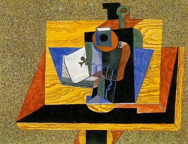 1915 Verre, as de trКfle, bouteille sur une table. Pablo Picasso (1881-1973) Period of creation: 1908-1918