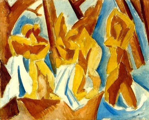 1908 Cinq femmes (Baigneuses dans la forИt). Pablo Picasso (1881-1973) Period of creation: 1908-1918