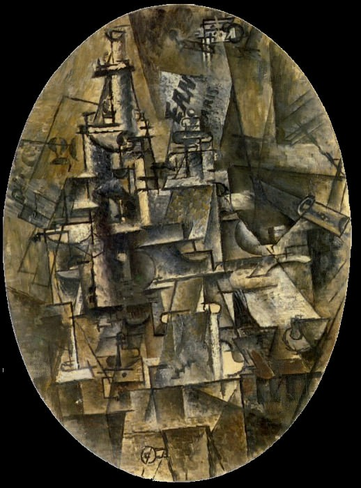 1911 Bouteille, verre, fourchette. Pablo Picasso (1881-1973) Period of creation: 1908-1918