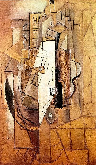 1912 Bouteille de Bass, guitare, as de trКfle. Pablo Picasso (1881-1973) Period of creation: 1908-1918