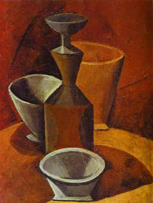 1908 Carafe et gobelets. Pablo Picasso (1881-1973) Period of creation: 1908-1918
