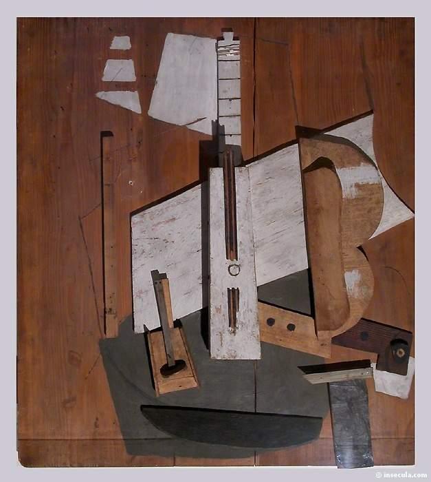 1913 Guitare et bouteille de Bass. JPG. Pablo Picasso (1881-1973) Period of creation: 1908-1918
