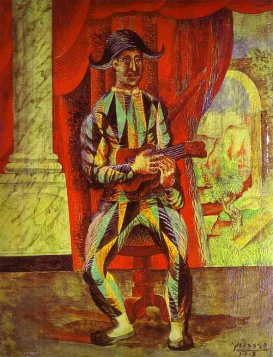 1918 Arlequin Е la Guitare. Pablo Picasso (1881-1973) Period of creation: 1908-1918