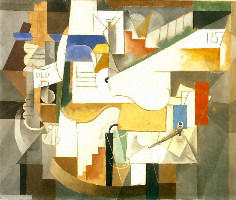 1912 Bouteille, guitare, pipe. Pablo Picasso (1881-1973) Period of creation: 1908-1918