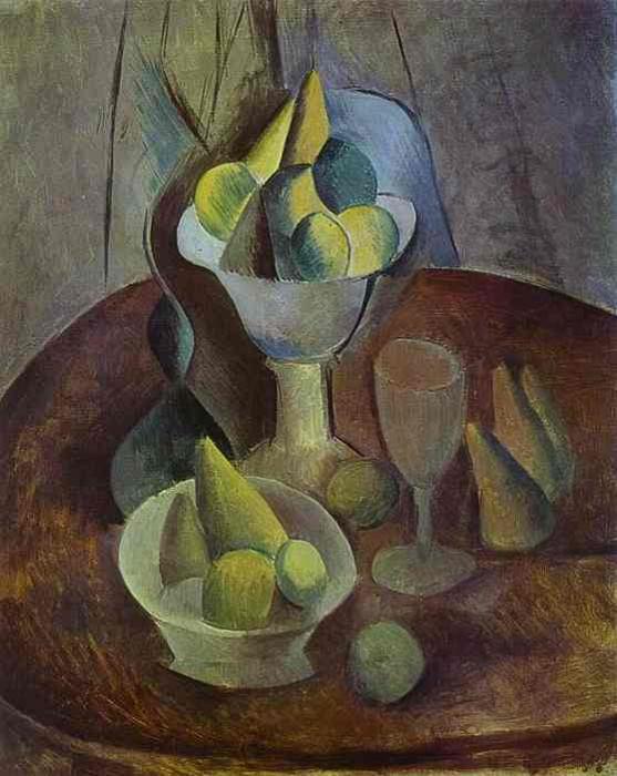 1909 Compotier, Fruit, et Verre. JPG. Pablo Picasso (1881-1973) Period of creation: 1908-1918