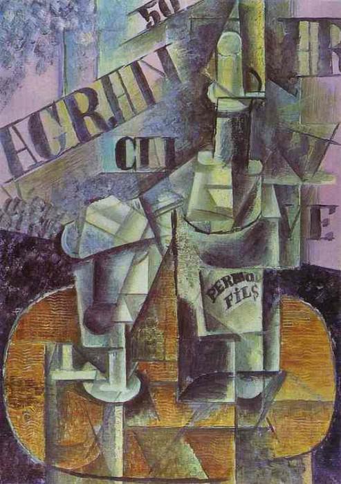 1912 Bouteille de Pernod (Table dans un CafВ). Pablo Picasso (1881-1973) Period of creation: 1908-1918