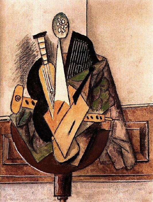 1915 Instruments de musique et compotier sur un guВridon. Пабло Пикассо (1881-1973) Период: 1908-1918