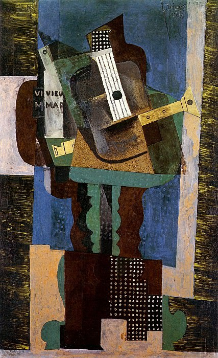 1916 Guitare, clarinette et bouteille sur une table. Pablo Picasso (1881-1973) Period of creation: 1908-1918