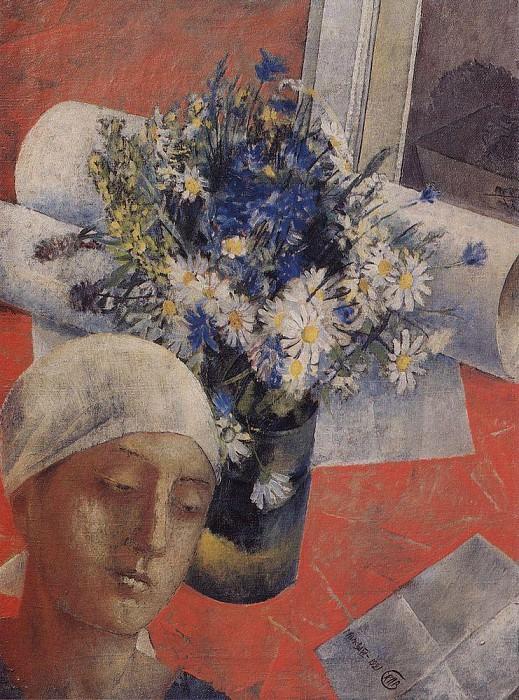 Still Life (with a female head). 1921. Kuzma Sergeevich Petrov-Vodkin