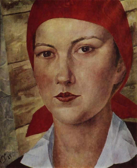 Girl in red scarf (worker). 1925. Kuzma Sergeevich Petrov-Vodkin