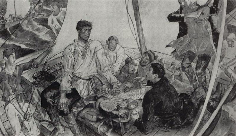 sketch panel Stepan Razin. 1918. Kuzma Sergeevich Petrov-Vodkin