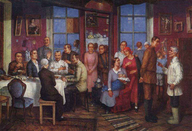 Housewarming (Work Petrograd). 1937. Kuzma Sergeevich Petrov-Vodkin