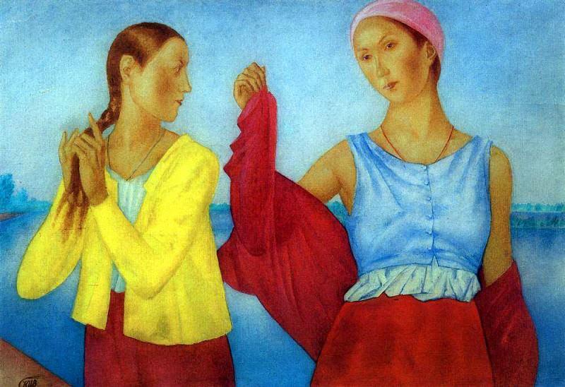 Two girls. 1915. Kuzma Sergeevich Petrov-Vodkin