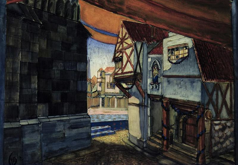 Stage design for the opera The Maid of Orleans by Pyotr Tchaikovsky (1840-1893). Kuzma Sergeevich Petrov-Vodkin