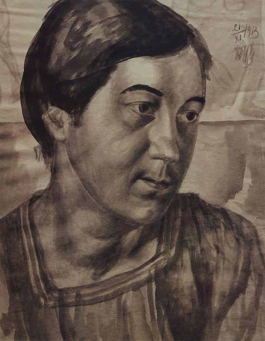 Portrait of the artists wife. 1913. Kuzma Sergeevich Petrov-Vodkin