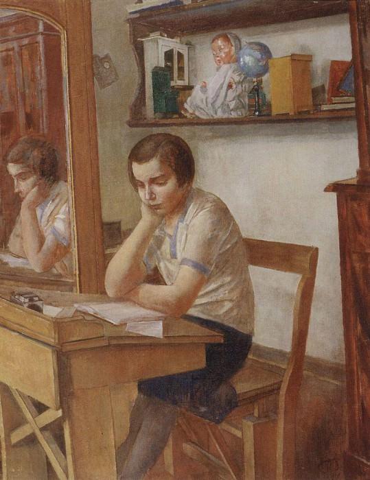 girl at the desk. 1934. Kuzma Sergeevich Petrov-Vodkin