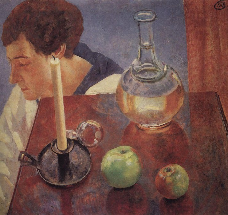 Still Life. A candle and a decanter. 1918. Kuzma Sergeevich Petrov-Vodkin