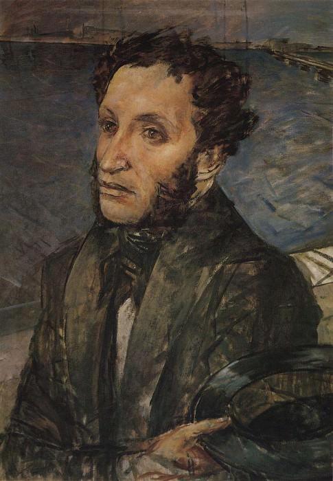 A. Pushkin in St. Petersburg. 1930. Kuzma Sergeevich Petrov-Vodkin