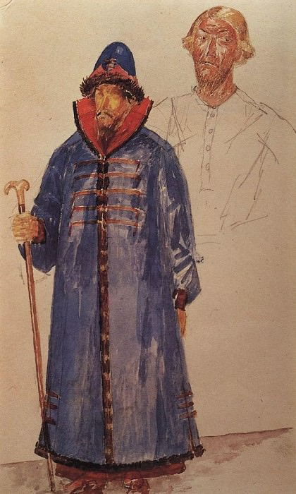 costumes and make-up to the tragedy of Pushkins Boris Godunov. 1923. Kuzma Sergeevich Petrov-Vodkin
