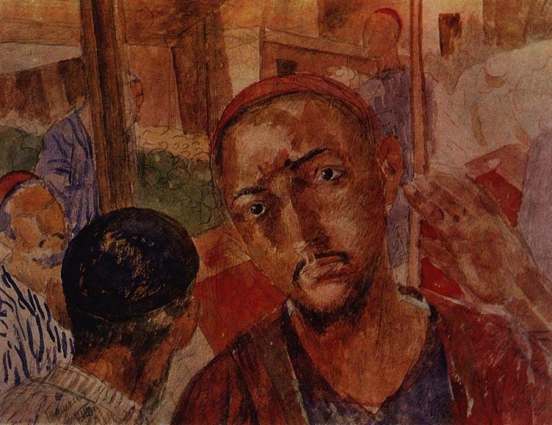 In the tea-house. 1921. Kuzma Sergeevich Petrov-Vodkin