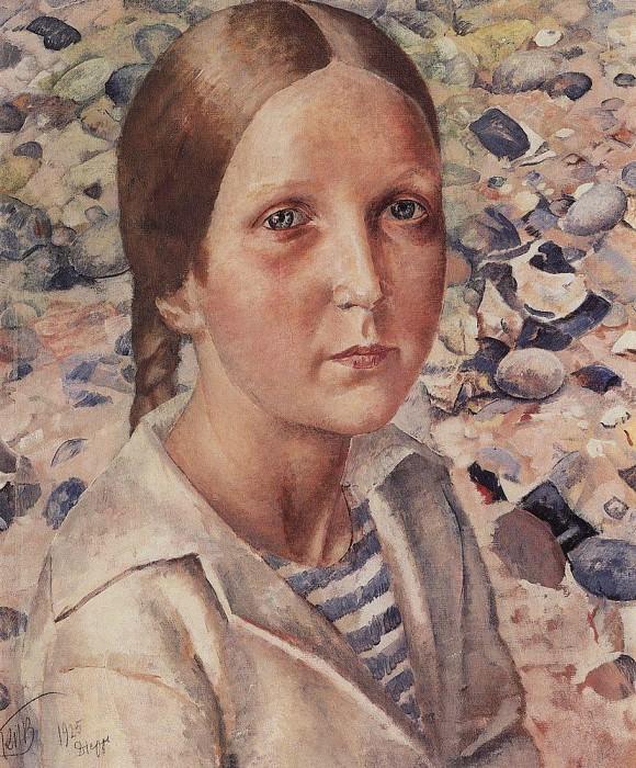 Girl on the beach. 1925. Kuzma Sergeevich Petrov-Vodkin