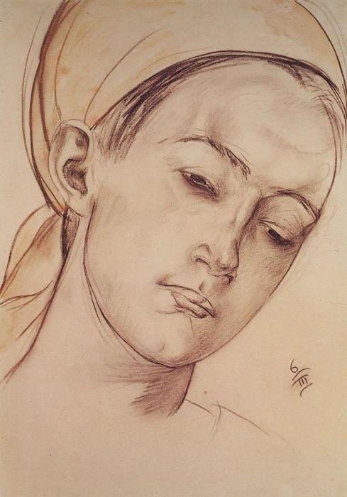 Womens head. 1913. Kuzma Sergeevich Petrov-Vodkin