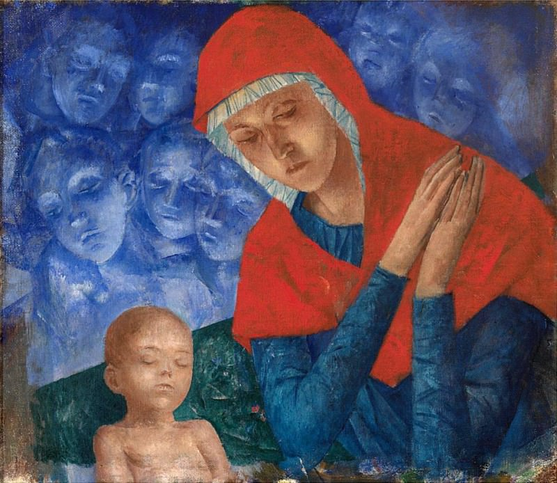 Mother of God with Child. Kuzma Sergeevich Petrov-Vodkin