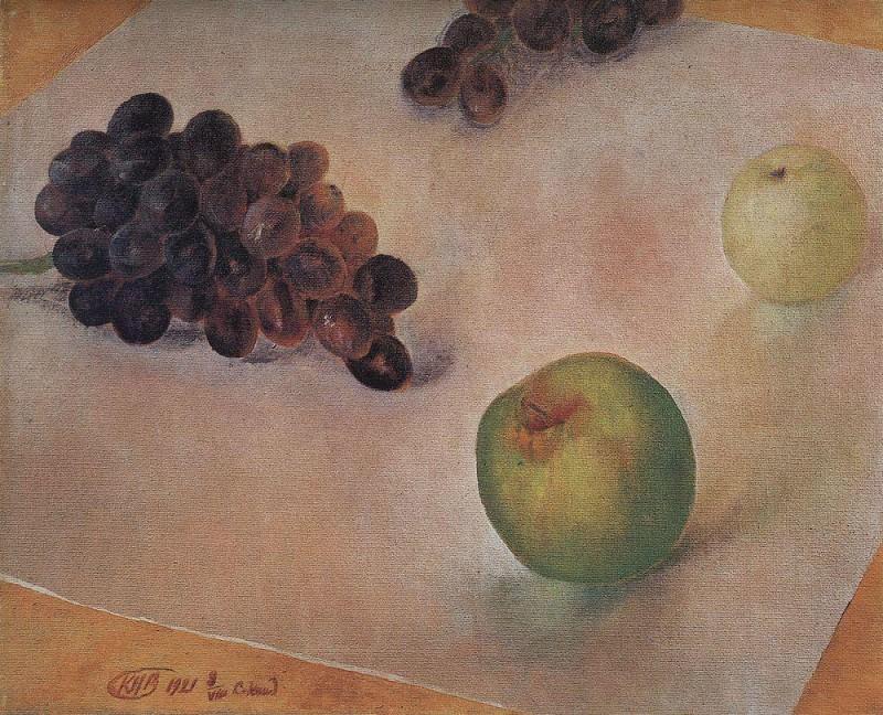 Still Life. Grapes and apples. 1921. Kuzma Sergeevich Petrov-Vodkin