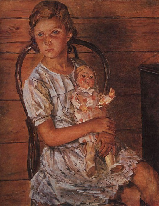 Girl with a Doll. 1937. Kuzma Sergeevich Petrov-Vodkin