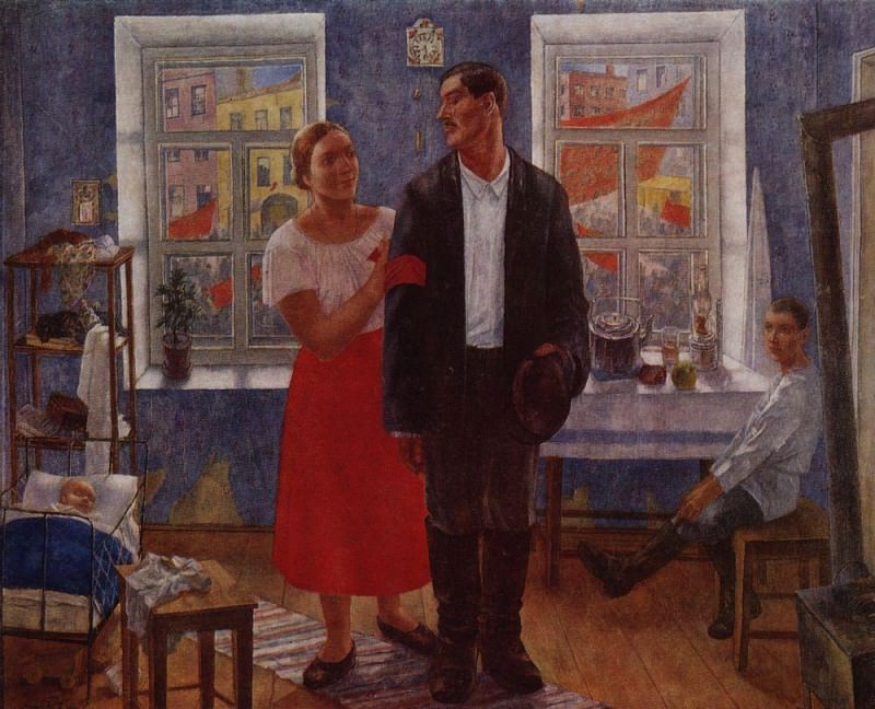 First demonstration (Family working on the first anniversary of October). 1927. Kuzma Sergeevich Petrov-Vodkin