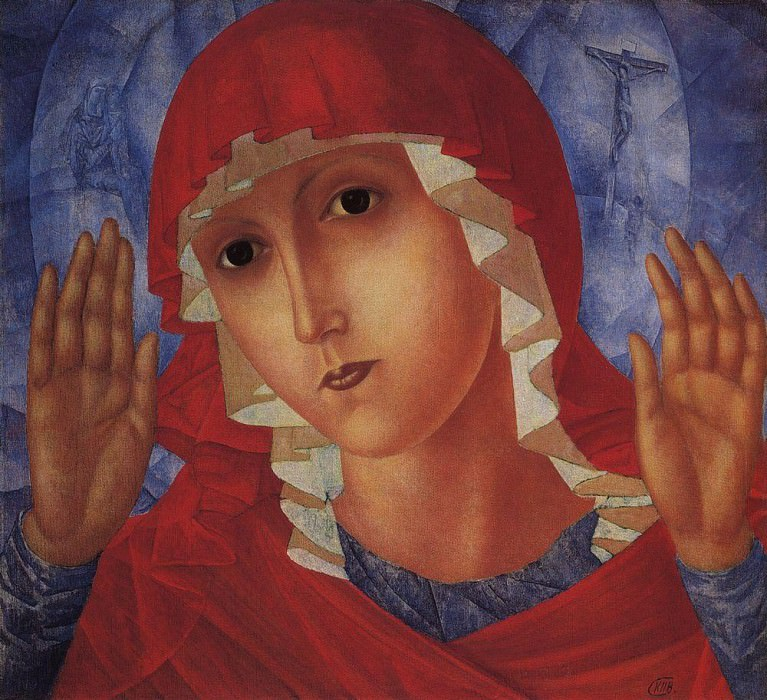 Virgin of Tenderness evil hearts. 1914-1915. Kuzma Sergeevich Petrov-Vodkin