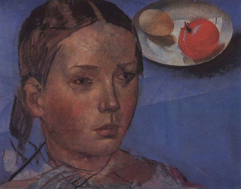 Portrait of the daughter against the background of still life. 1930. Kuzma Sergeevich Petrov-Vodkin