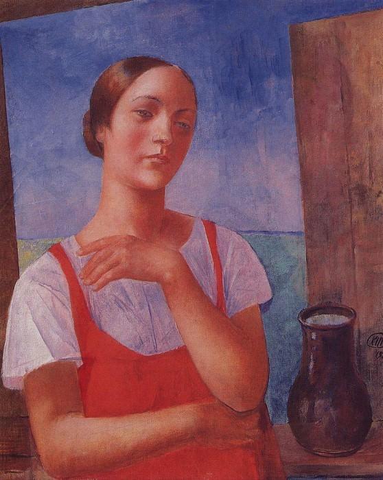 Girl in sarafan. 1928. Kuzma Sergeevich Petrov-Vodkin