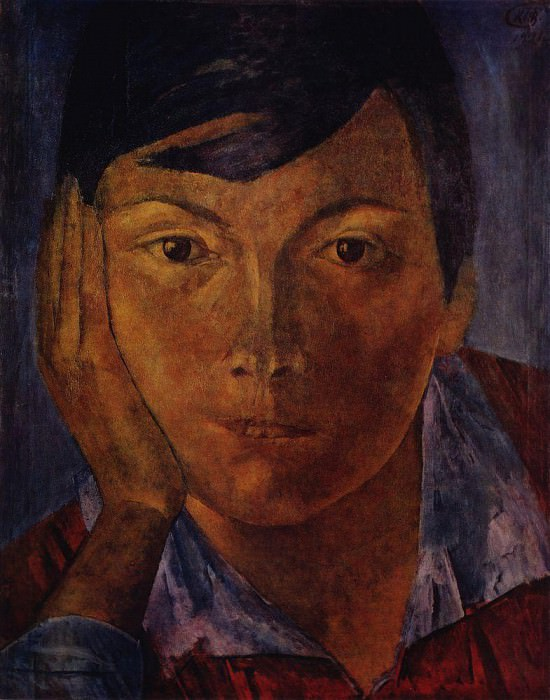 yellow face (female face). 1921. Kuzma Sergeevich Petrov-Vodkin